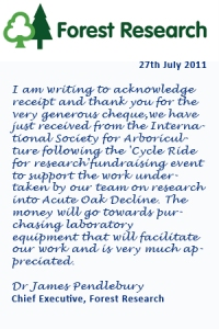Read the full thank you letter from Forest Research from 2011