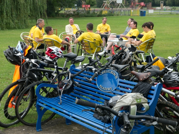 Riders' tea break at Christchurch Meadows