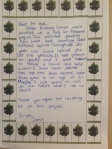 Letter from Zamir, Glebe School 2012