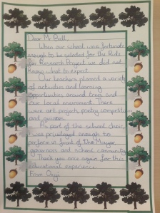 Letter from Onyi, Glebe School 2012