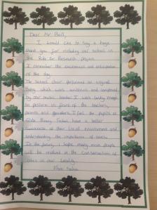 Letter from Sahra, Glebe School 2012
