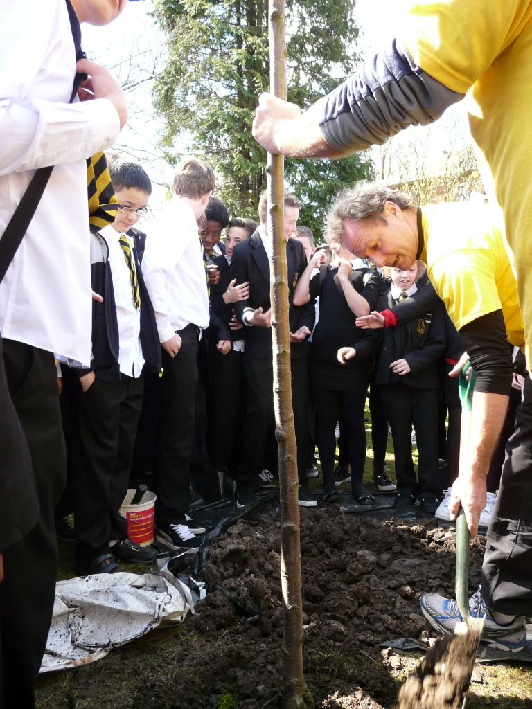 Planting with school children during the 2013 Ride for Research event at Glasgow