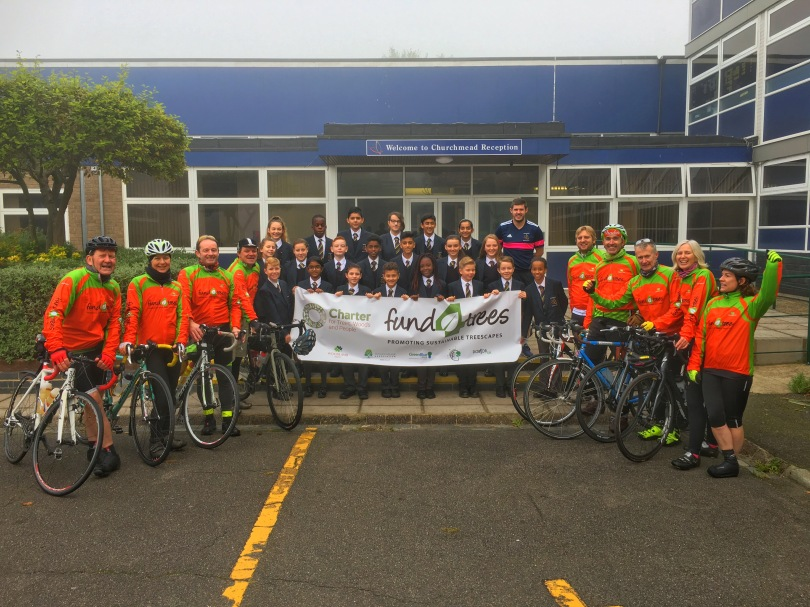 The Fund4Trees Charter Ride team at Churchmead School, Datchet